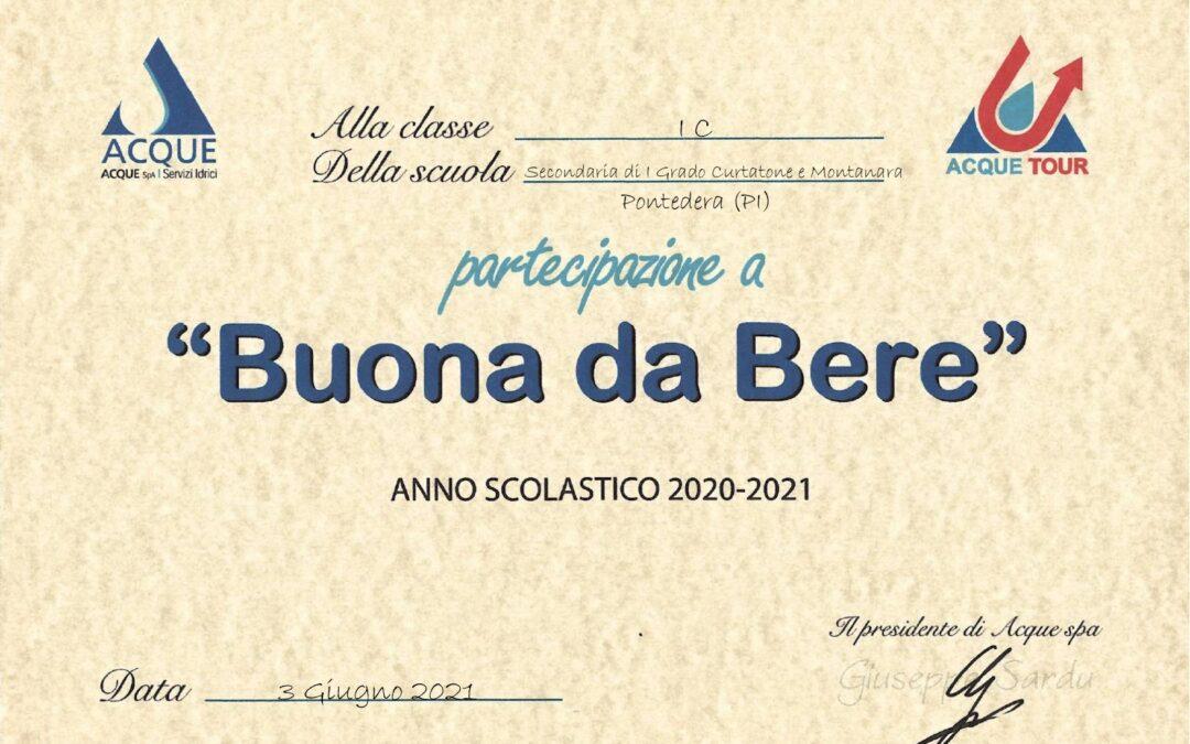 """Premio Concorso """"Buona da bere"""" Progetto acque Tour  – Scuola secondaria di I grado"""
