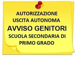 Modulo autorizzazione uscita autonoma scuola secondaria I grado a.s. 2020/21